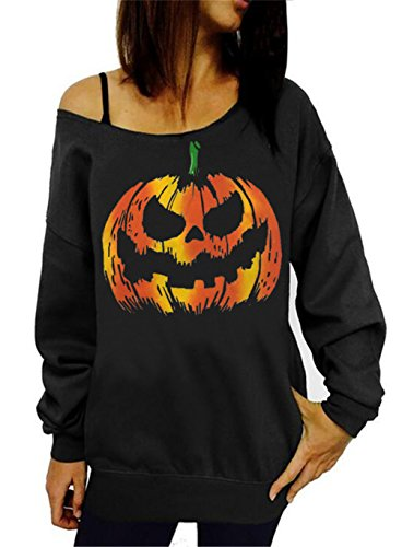 lymanchi Women Halloween Costume Off Shoulder Tops Casual Pullover Slouchy Sweatshirt B Black L