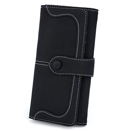 UTO RFID Wallet for Women Vegan Leather 18 Card Slots Card Holder Long Bifold Checkbook 5.5' Phone Blocking Tech Wallet Coffee