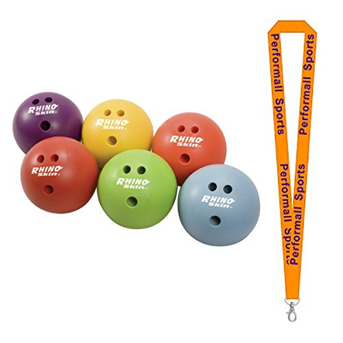 Champion Sports Rhino Skin 1.5 lb Bowling Ball Set Red (Set of 6) Bundle with 1 Performall Lanyard (Rhino Skin Bowling Ball)