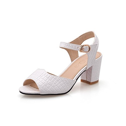 AllhqFashion Women's Buckle Open Toe Kitten-Heels PU Solid Sandals White H4q9sOQeL