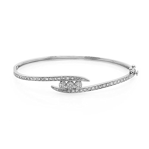 0.50 Carat (ctw) 10K White Gold Round White Diamond Ladies Flower Cluster Bangle Bracelet 1/2 CT - Diamond Cluster Bangle Bracelet