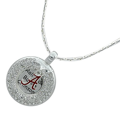 Sports Team Accessories Alabama Crimson Tide Circle Necklace with Logo Charm and Clear Crystals (Logo Hanging Necklace Charm)