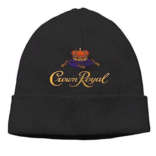 adult-crown-royal-logo-beanies-cotton-wool-caps-hats-adjustable-black
