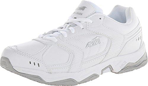 AVIA Men's Union Service Shoe, White/Chrome Silver/Steel Grey, 12 M (Avia Silver Shoes)