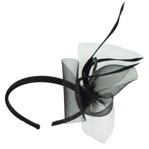 Capelli New York Fascinator Headband With Two Tone Mesh Side And Skinny Feathers