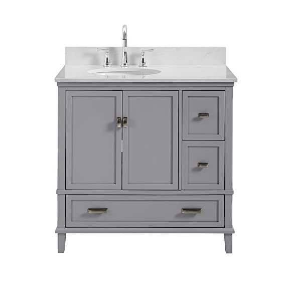 """Dorel Living Otum 36"""" Bathroom Vanity, Gray - Traditional designed 36"""" bathroom Vanity Perfect for your master bathroom, guest bathroom or powder room Crafted with solid wood, engineered wood and fine wood veneer - bathroom-vanities, bathroom-fixtures-hardware, bathroom - 41yVJ8wN7XL. SS570  -"""