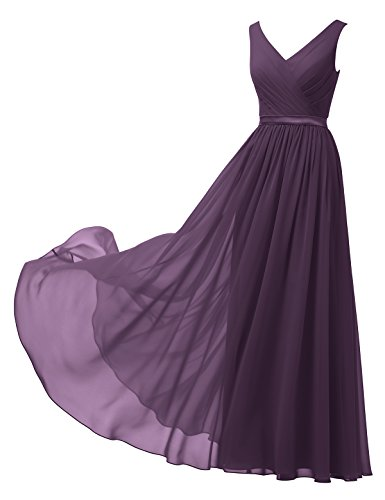 Alicepub V-Neck Chiffon Bridesmaid Dress Long Party Prom Evening Dress Sleeveless, Grape, US12 (Floor Gown A-line Length)