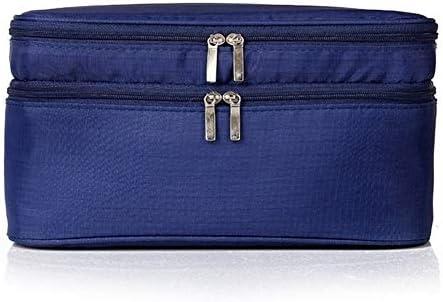 YouNITE トラベルメイクアップオーガナイザー化粧品袋二重層防水バストオーガナイザーバッグトランク化粧ケース女性トイレタリーキット (Color : Deep Blue)