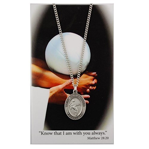Pewter Saint Christopher Athlete Protection Girls Volleyball Sports Medal, 1 Inch ()