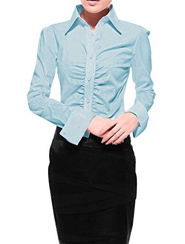 Allegra K Women Ruched Front Buttoned Shirt Blue