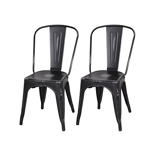 Adeco Metal Stackable Industrial Chic Dining Bistro Cafe Side Chairs, Distressed Black (Set of 2)