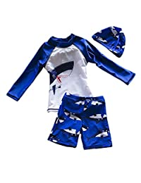 Best For ALL Baby Boys Kids Long Sleeve UV Sun Protection Rash Guards Swimsuit with Hat