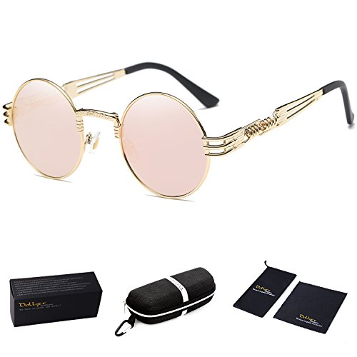 Dollger Pink Round Sunglasses Steampunk Glasses Metal Frame Mirror Lenses -