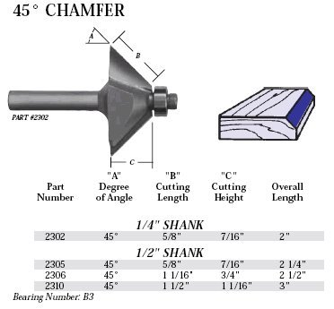 Whiteside Router Bits 2305 Chamfer Bit with 45-Degree 5/8-Inch Cutting Length