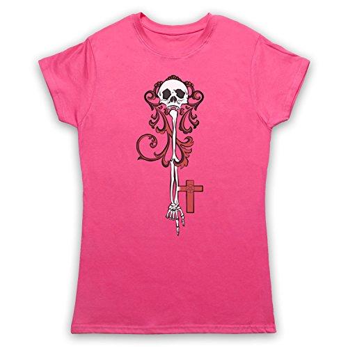 Skeleton Key Gothic Illustration Camiseta para Mujer Rosa