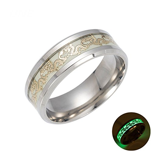 Ginger Lyne Collection Dragon Glow in The Dark Stainless Steel Comfort Fit Band Ring