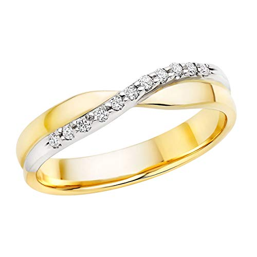 0.50 Ct Round Cut Simulated Diamond Crossover Wedding Band Ring In Solid 10K Yellow Gold ()