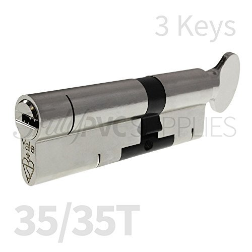 35/35T Nickel YALE Superior Thumbturn Euro Cylinder with 3 Keys /Anti Snap / Bump / Pick / Drill / Pull High Security uPVC Composite Door Barrel Profile Twist Thumb Turn Lock by Yale - Thumbturn Key
