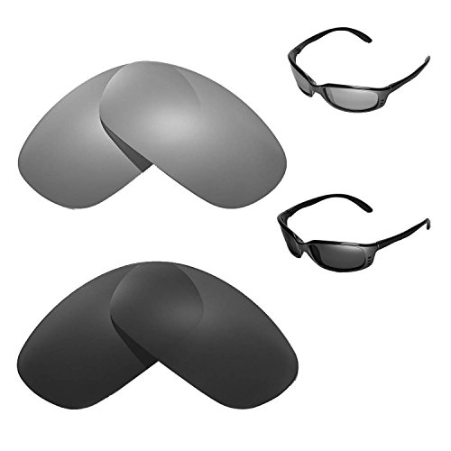 Walleva Polarized Titanium + Black Replacement Lenses for Costa Del Mar - Del Mar Costa Z87