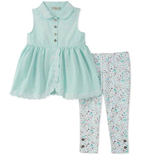 .Calvin Klein. Big Girls' Blue Tunic Two-Piece Legging Set (Joker Outfit For Kids)