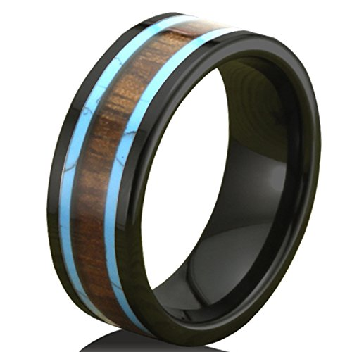 Men Women 8mm Black Ceramic Ring Vintage Wedding Engagement Band with Koa Wood Two Lines Solid Turquoise Size 7