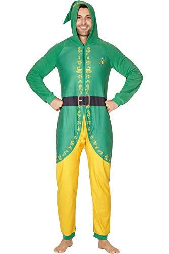 INTIMO Elf The Movie Mens 'Buddy The Elf' One Piece Costume Pajama Set, Green, Medium