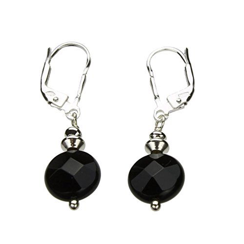 Faceted Black Onyx Coin Beads Sterling Silver Leverback Earrings