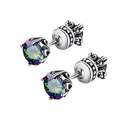 - Beydodo Mens Earrings Rainbow Cubic Zirconia Earrings Studs Stainless Steel Earrings Ear Pierce
