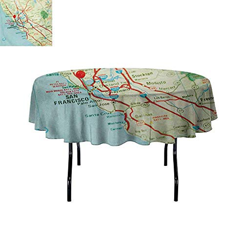 Curioly Map Anti-Wrinkle and Anti-Wrinkle Polyester Vintage Map of San Francisco Bay Area with Red Pin City Travel Location for Weddings/banquets D47.2 Inch Pale Blue Pale Green Red (Best Wedding Locations Bay Area)