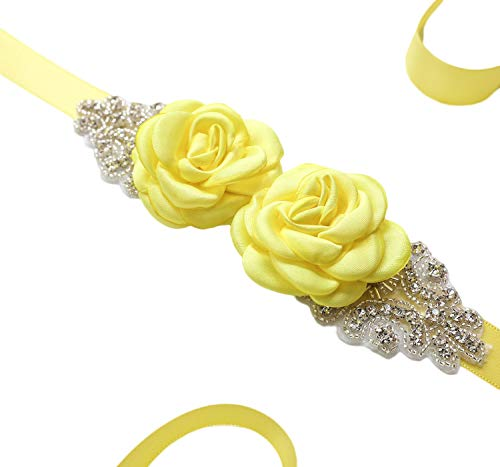 Color Sash Any (Vicokity Bridal Wedding Dress Sash Belt With Crystal Bead Pearls Rhinestone Belt Flowers Belts For Womens (Yellow))