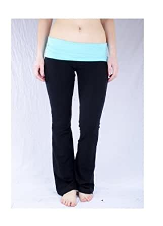 Basic House Women's Fold over Waist Solid and Contrast Lounge Pants,Small,Black/Aqua