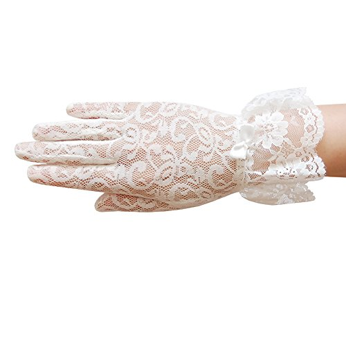 ZaZa Bridal Stretch floral lace gloves for girl with lace ruffle trim Wrist Length 2BL-Girl's Size Small (Ivory Flower Tights)