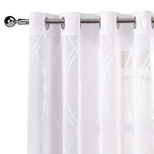 (DWCN White Sheer Curtains Faux Linen Semi Voile Grommet Top Window Striped Jacquard Pattern Drapes for Bedroom 52 x 84 Inches Length, Set of 2)