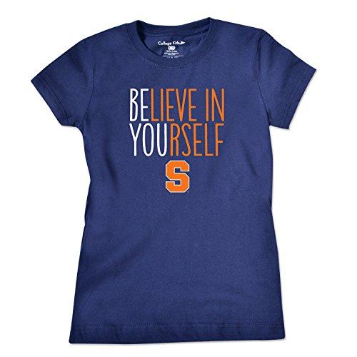 College Kids NCAA Syracuse Orange Girls Short Sleeve Tee, Size (8-10)/Small, Navy - Orange T-shirt Youth Syracuse