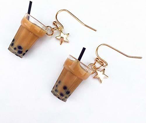 Kofun Earrings, 1 Pair Creative Cute Mini Lemon Black Tea Milk Tea Cup Drink Earrings Minimalism Cartoon Design Female Ear Hooks Clips Danglers Jewelry Gift A