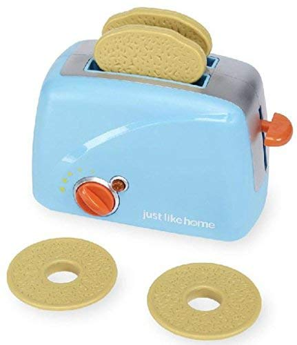 Just Like Home AD11968 Toaster Playset - Blue (Pretend Toaster Play)