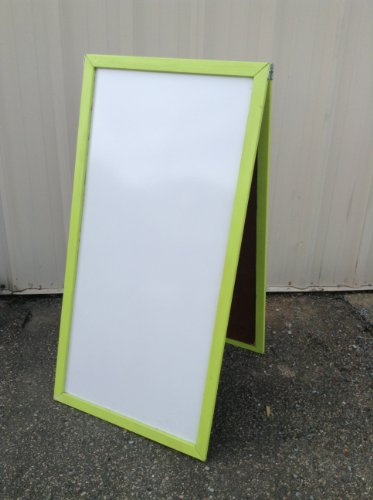 Sidewalk Sign Double Sided White Dry Erase Board Wood Frame Lime Green 36 X 24