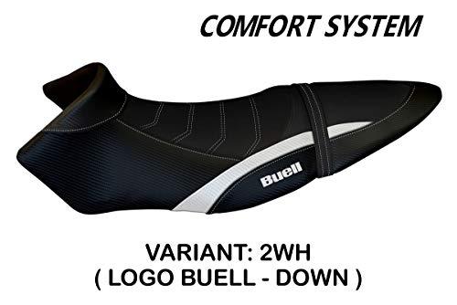 Zadelhoes compatibel met Buell XB 12 S/XB 12SX Mod Avignone 2 Comfort System bekleding Italië (wit)