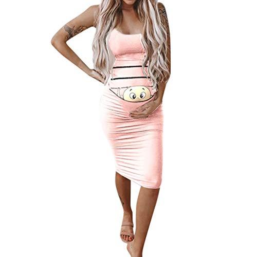 (Creazrise Women's Fashion Cute Baby Printed Pregnant Summer Sleeveless Maternity Knee Length Tank Dress Pink)