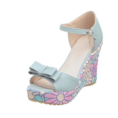 Carolbar Kvinners Spenne Buer Peep Toe Kjole Søt Eleganse Floral Print Plattform Kiler Sandaler Blå