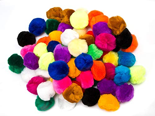 EduKit Large 5cm Pompoms Craft Supply Bumper Pack | 70 PC Colorful Hobby & Craft Supplies for Kids, Preschoolers & Classrooms]()