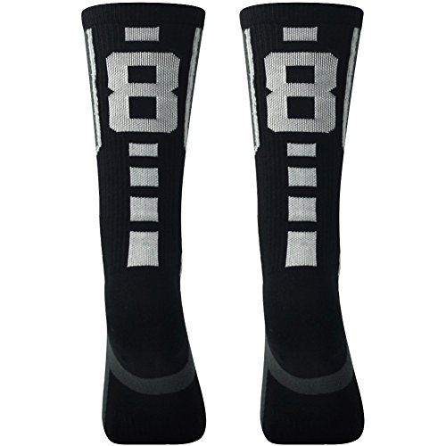 Comifun Long Tube Socks Football Baseball Lacrosse Athletic Sports Cushioned Custom Socks Team Number 88,Large,1 Pair Black/White (Yugioh Gimmick Puppet Of Leo)