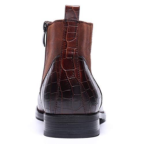 Uomo Magliette Zipper 39 Per 47 Stivaletti Side Ufficiale Vestito Size Invernali Rotonde Toe Large Casual Boots Alta Da Martin Yra Brown Chelsea Uomini Stivali Il ETIw4
