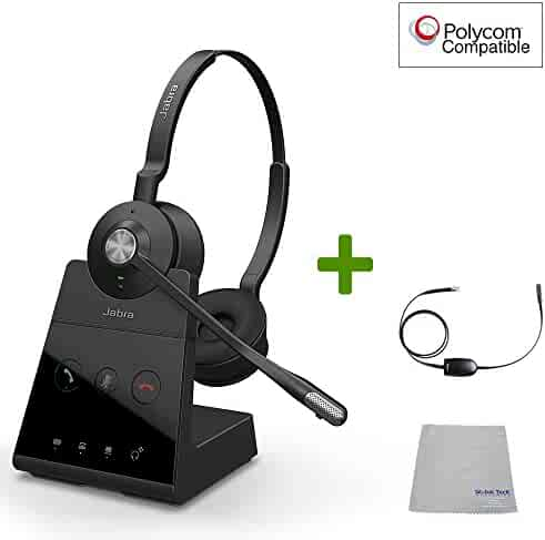 93e422354cf Polycom Compatible Jabra Engage 65 Wireless Headset Bundle with EHS Adapter,  9559-553-