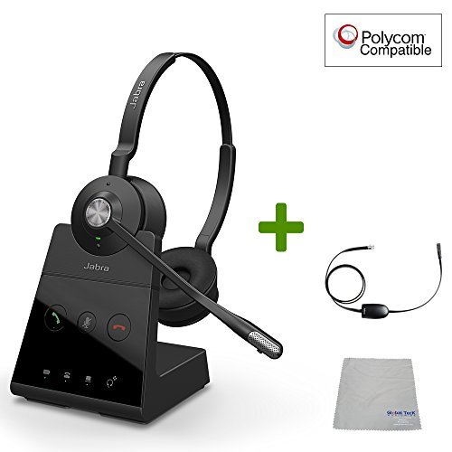 (Polycom Compatible Jabra Engage 65 Wireless Headset Bundle with EHS Adapter, 9559-553-125-PLY | VVX and Soundpoint Phones, PC/MAC, USB, Skype for Business)