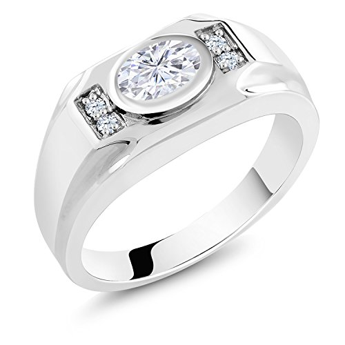 Moissanite Classic Solitaire - 925 Sterling Silver Men's Solitaire w/Accent Stones Ring Forever Classic Oval 1.50ct (DEW) Created Moissanite by Charles & Colvard and Created Sapphire