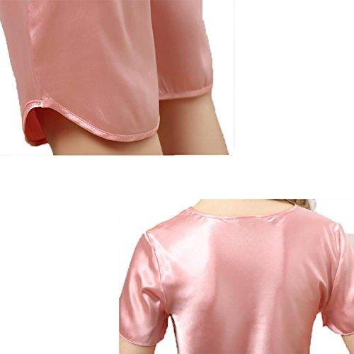 YUYU De las mujeres Lujo Seda Conjunto de pijama (Rocío) Regalos hermosos Encaje Manga corta Camisón watermelon red