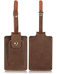ONLVAN Tag Luggage,Travel Luggage Tags & Leather Name Tags for Luggage, Bag and Baggage with Full Privacy Cover (Deep Brown)