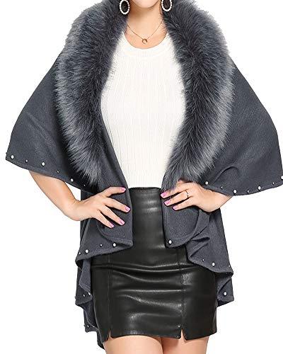 Helan Style Rivet Luxe De Gris Manteau Décoré Renard Femmes Fourrure 4S1Xrw4q