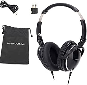 Active Noise Cancelling Headphones with Mic, MONODEAL Over Ear Deep Bass Earphones, Folding and Lightweight Travel Headset with Carrying Case